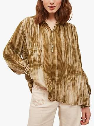 Gerard Darel Naim Abstract Silk Blouse, Khaki