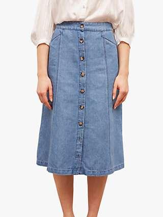 Gerard Darel Lilou Linen Blend A-Line Skirt, Blue