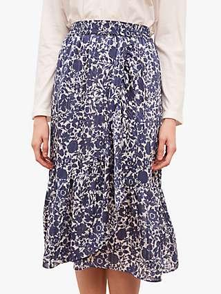 Gerard Darel Lisea Floral Print Skirt, Blue/Multi