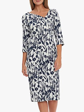 Gina Bacconi Hayla Floral Knee Length Dress, Navy/White
