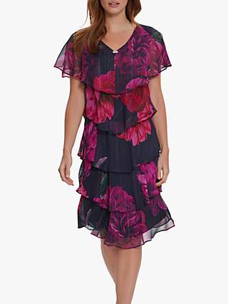 Gina Bacconi Franca Floral Knee Length Dress, Fuchsia