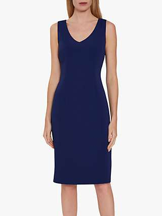 Gina Bacconi Merna Sleeveless Moss Crepe Shift Dress, Navy