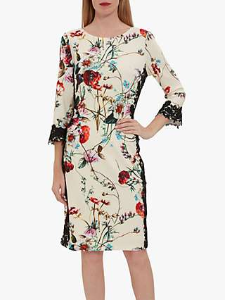 Gina Bacconi Liddie Floral Print Lace Dress, Butter Cream