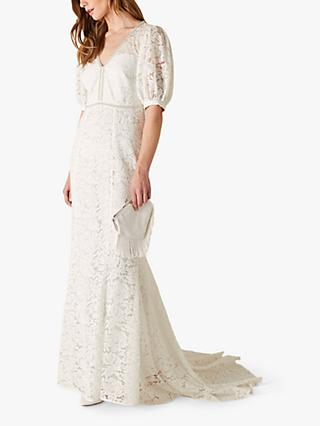 Monsoon Nicky Bridal Beaded Lace Dress, Ivory
