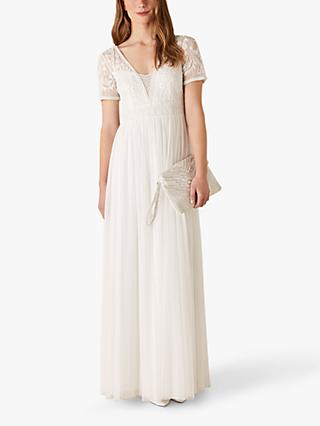 Monsoon Beth Embroidered Maxi Bridal Dress, Ivory