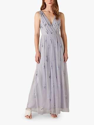 Monsoon Marisa Floral Embellished Maxi Dress, Blue