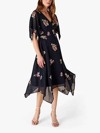 Monsoon Nigella Floral Print Hanky Hem Dress, Navy