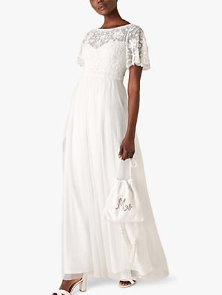 Monsoon Shelly Angel Sleeve Bridal Maxi Dress, Ivory