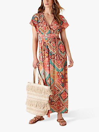 Monsoon Abstract Print Maxi Dress, Orange