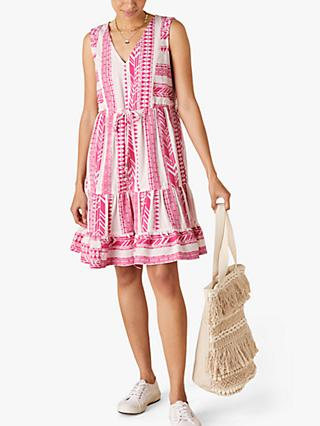Monsoon Woven Abstract Print Mini Dress, Pink
