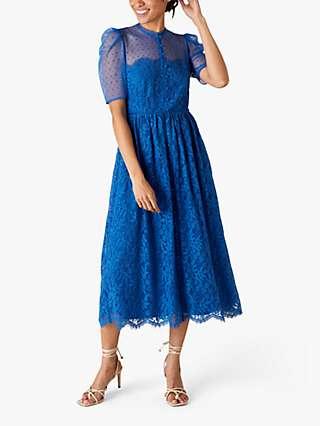 Monsoon Trisha Floral Lace Midi Dress, Blue