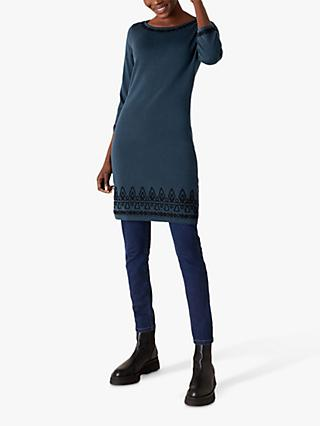 Monsoon Cornelli Embroidered Shift Dress, Teal