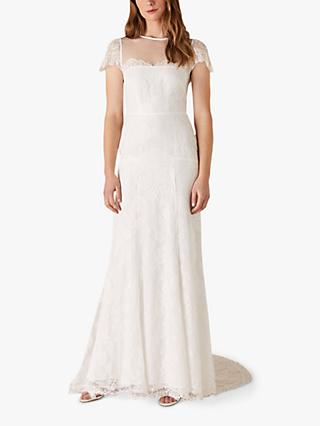 Monsoon Rebecca Lace Top Bridal Dress, Ivory