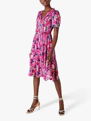 Monsoon Aluna Floral Lace Dress, Pink