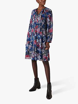 Monsoon Pleated Floral Print Knee Length Dress, Navy