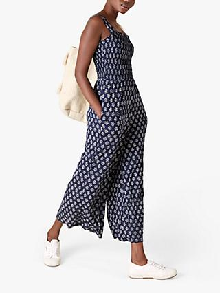 Monsoon Abstract Print Wide Leg Jumpsuit, Navy