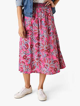 Monsoon Paisley Floral Print Midi Skirt, Pink