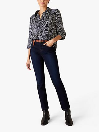 Monsoon Abstract Square Print Blouse, Navy