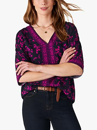 Monsoon Heritage Floral V Neck Top, Navy/Multi