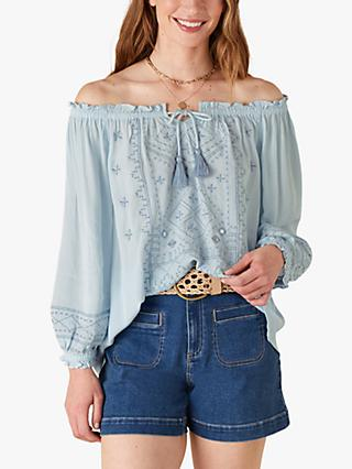 Monsoon Embroidered Boho Chic Top, Denim Blue
