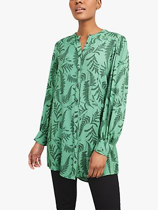 White Stuff Alaia Leave Print Tunic Top, Green/Multi