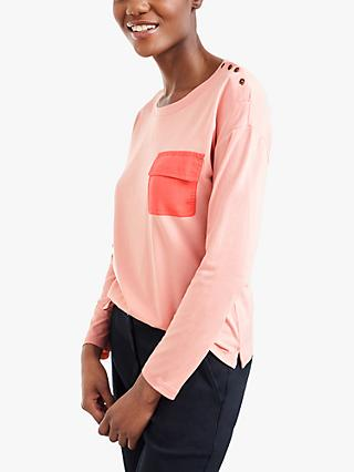 White Stuff Utility Jersey Top, Dusty Pink