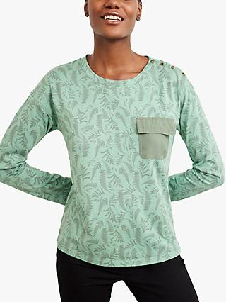 White Stuff Utility Leaf Print Jersey Top, Green/Multi