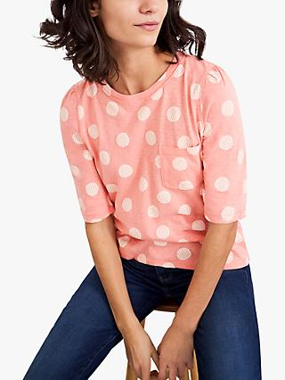 White Stuff Petunia Spot Print Top, Pink/Multi