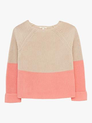 White Stuff Orla Colour Block Ribbed Jumper, Beige/Pink
