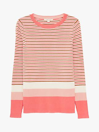 White Stuff Skinny Striped Solid Cuff Jumper, Pink/Multi