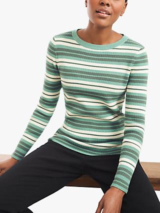 White Stuff Skinny Striped Jumper, Green/Multi
