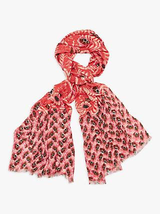 White Stuff Bella Floral Print Bamboo Scarf, Orange