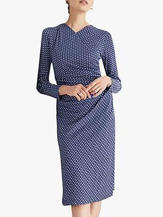 The Fold Belgravia Abstract Print Dress, Navy/Multi