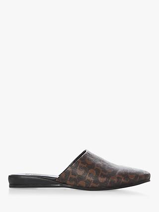 Dune Wolseys Premium Leather Logo Mule Slippers, Dark Brown