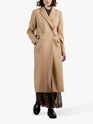 Ted Baker Yecara Double Breasted Peaked Lapel Coat, Brown Camel
