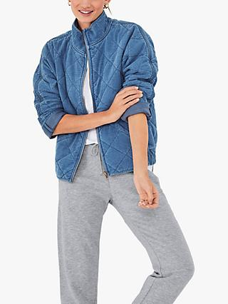 hush Quilted Relaxed Fit Jacket, Washed Blue Denim