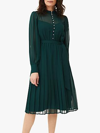 Phase Eight Izzy Button Detail Dress, Bottle Green