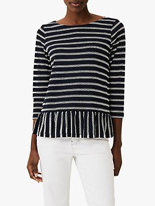 Phase Eight Binky Textured Stripe Top, Navy/Ivory