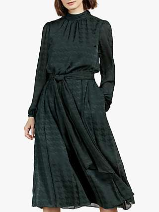 Ted Baker Wilmer Print Knee Length Dress, Dark Green