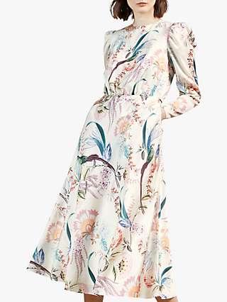 Ted Baker Edreana Floral Puff Sleeve Midi Dress, Natural Cream