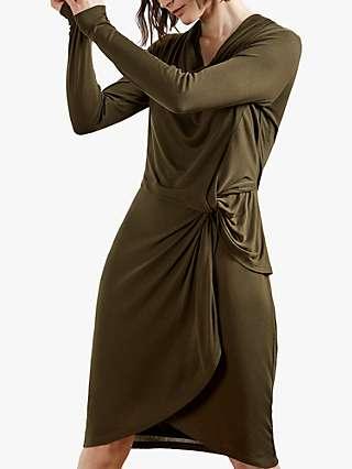 Ted Baker Neyda Long Sleeve Jersey Mini Dress, Khaki