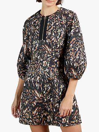 Ted Baker Holiiy Urban Printed Mini Dress, Khaki