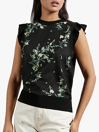 Ted Baker Zaphira Frilled Floral Print Top, Black