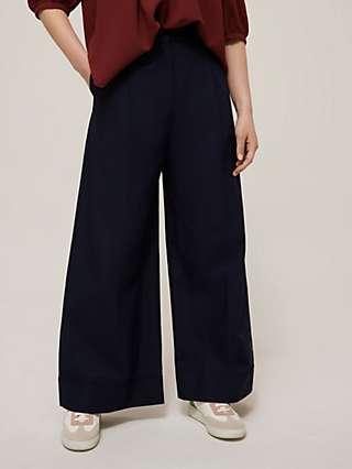 See By Chloé Cotton Poplin Wide Leg Trousers, Navy