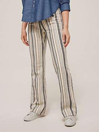 See By Chloé Stripe Wide Leg Trousers, White/Blue