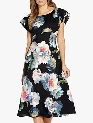 Adrianna Papell Floral Bias Midi Dress, Black/Multi