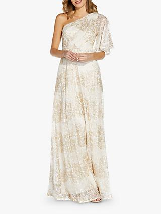 Adrianna Papell One Shoulder Long Beaded Dress, Ivory/Gold