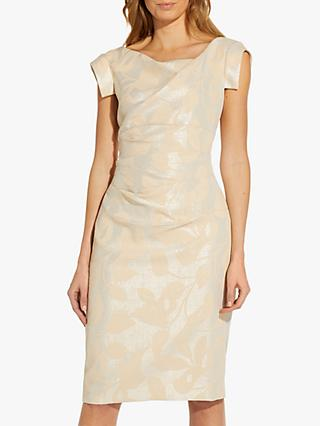 Adrianna Papell Leaf Draped Knee Length Dress, Champagne