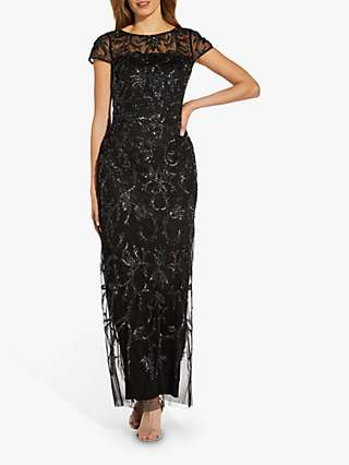 Adrianna Papell Beaded T-Shirt Gown Dress