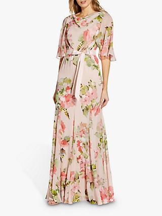 Adrianna Papell Floral Chiffon Maxi Gown, Blush/Multi